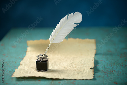 Fotografie, Obraz  Writing Inkwell, Feather and Paper