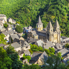 Medieval Village Of Conques And Sainte-Foy Abbey , France