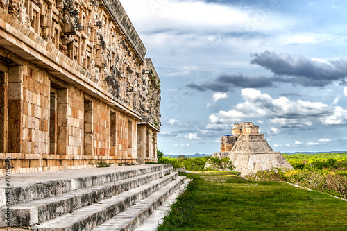 Staande foto Mexico Governor's Palace and Magician's Pyramid in Uxmal Mexico