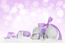 Christmas Baubles And Purple R...