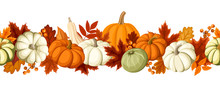 Horizontal Seamless Background With Pumpkins And Autumn Leaves.