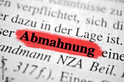 Abmahnung Rot Markierter Text Buy This Stock Photo And