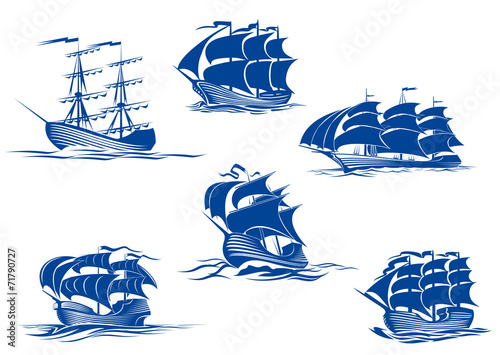 Fotobehang Schip Blue tall ships or sailing ships