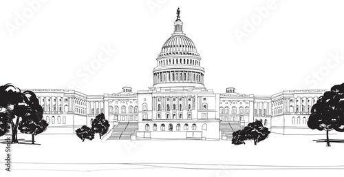 Fototapeta Washington DC. United States Capitol hill, US Capitol dome. obraz