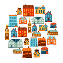 Town Icon Set Of Cute Colorful...