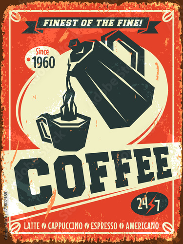 Fotografie, Tablou  Coffee background. Vector illustration.