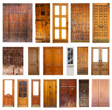 Set Of Many Wooden Doors. Isolated On White