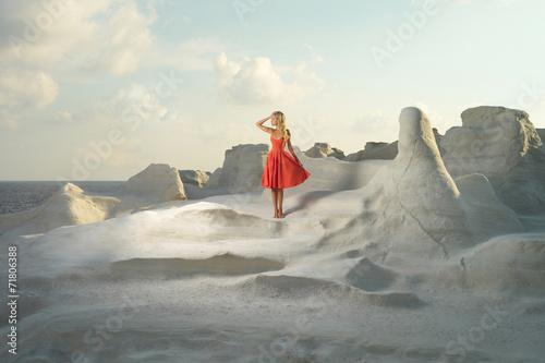 Foto op Plexiglas Grijs Lady in red dress in an unusual landscape