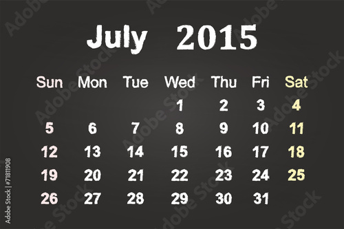 July Month 2015 Calendar On Blackboard Buy This Stock Vector And