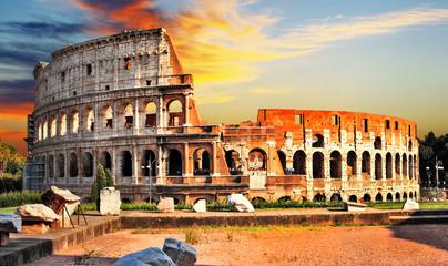 Obraz na Szkle Vintage great Colosseum on sunset, Rome