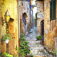 Plakat charming old streets of mediterranean