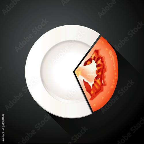 Spoed Foto op Canvas Klaar gerecht Vector of White Plate and Tomato Pie Chart Info Graphic