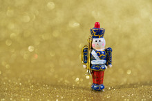 Christmas Wooden Toy On Golden...