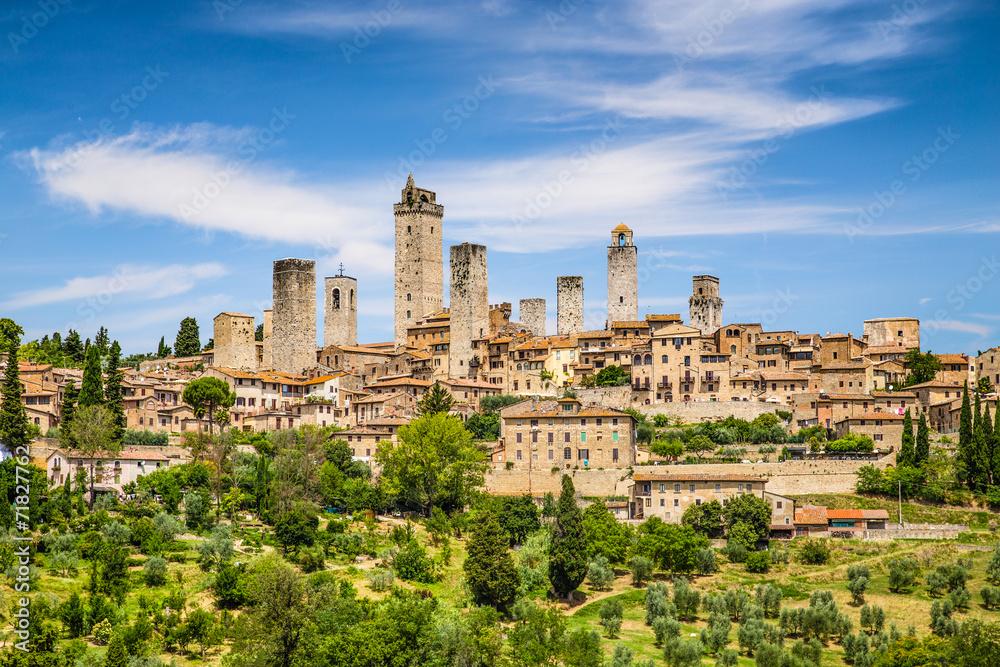 Fototapety, obrazy: Średniowieczne miasto San Gimignano, Toskania, Włochy