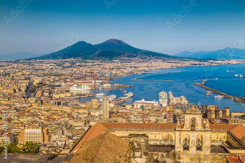 Foto auf AluDibond Neapel City of Naples with Mt. Vesuv at sunset, Campania, Italy