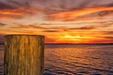 Orange Sky As The Sun Sets.