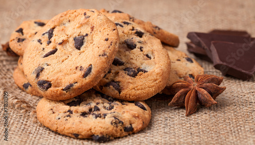Photo  Cookies with chocolate chips