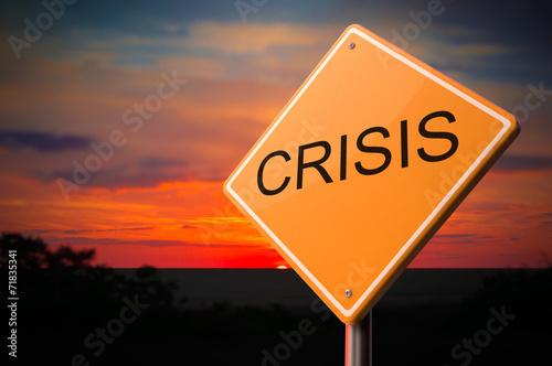 Fotografía  Crisis Inscription on Warning Road Sign.