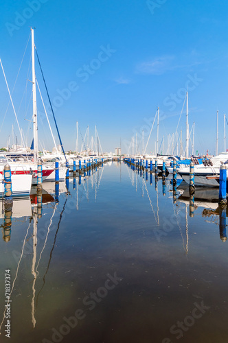 Papiers peints Nautique motorise Port of Cervia with boats and yachts on the quay, Italy.