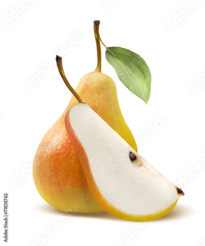 Fresh yellow pear and quarter isolated on white background