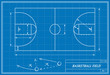 basketball court on blueprint