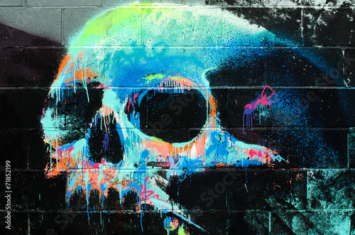 Graffiti of a human skull on a wall © MIMOHE
