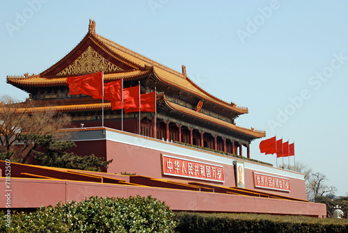 Tuinposter Beijing The Tiananmen Gate at Tiananmen Square, Beijing, China.