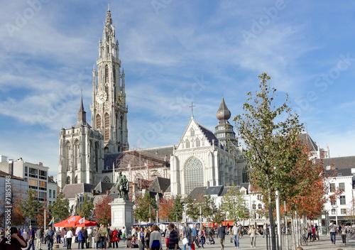 Poster Antwerp Marktplatz an der Liebfrauenkathedrale Antwerpen