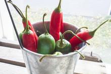 Chili And Jalapeno, In A Aluminium Bowl