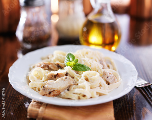 fettuccine alfredo with grilled chicken dinner Canvas Print