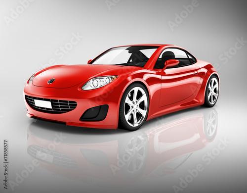 obraz-3d-czerwonego-samochodu-sportowego