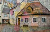 Średniowieczne budynki w starym mieście Ryga, Łotwa - 71865587