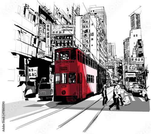 czerwony-tramwaj-na-ulicy