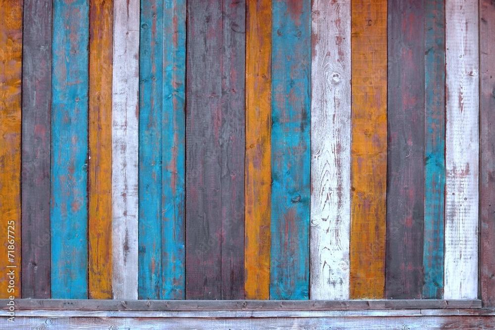 impression photo sur verre colorful wooden plank panel. Black Bedroom Furniture Sets. Home Design Ideas