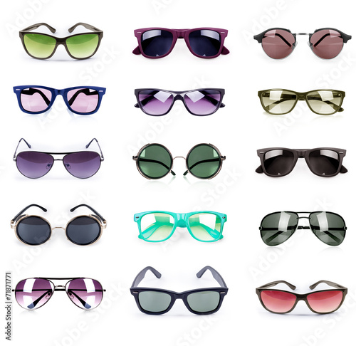 Group of different sunglasses isolated on white background