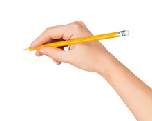 Woman's Hand Draws A Pencil On...