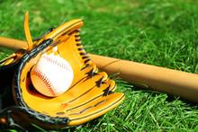 Baseball Bat, Ball And Glove O...