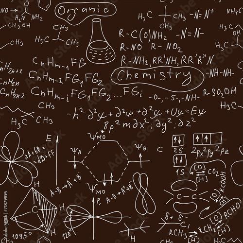 Seamless Organic chemistry hand written background. Canvas Print