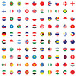 Illustrated Set of World Flags - Round