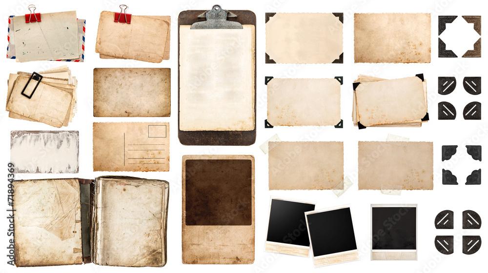 Fototapeta vintage paper sheets, book, old photo frames and corners, antiqu