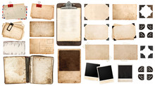 Vintage Paper Sheets, Book, Old Photo Frames And Corners, Antiqu