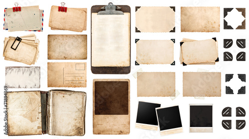 Keuken foto achterwand Retro vintage paper sheets, book, old photo frames and corners, antiqu