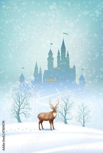 Valokuva  Christmas Landscape Winter Castle