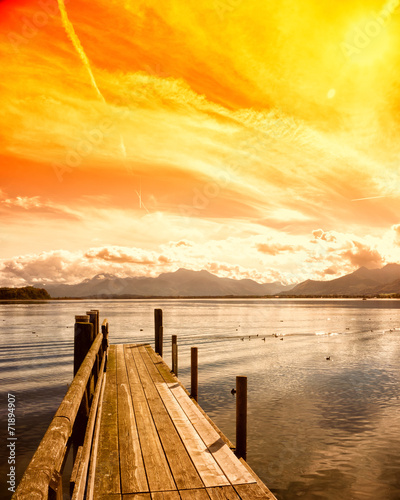 wooden jetty (174) lake chiemsee Wallpaper Mural