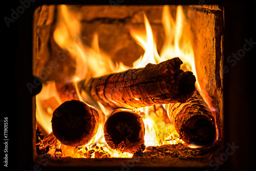 Canvas Print fire in a fireplace