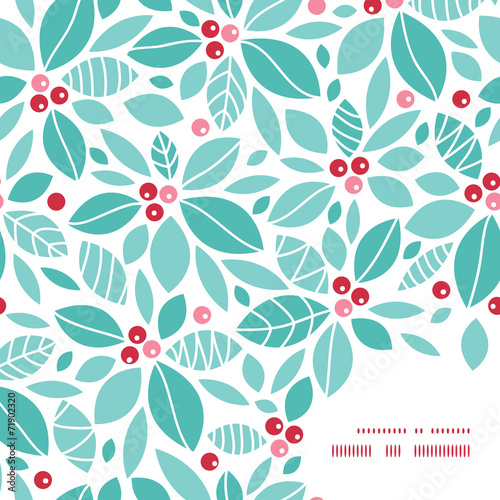 Fototapety, obrazy: Vector christmas holly berries frame corner pattern background