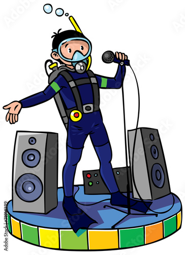 Diver with microphone Wallpaper Mural