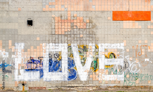 Poster Graffiti Word Love On a Tiled Wall