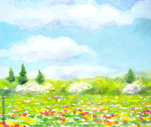 Poster Lime groen Watercolor landscape of series of