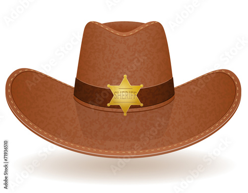 Fotografía  cowboy hat sheriff vector illustration